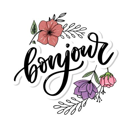 Inscripción Bonjour. Buen día en francés. Tarjeta de felicitación con caligrafía. Diseño dibujado a mano.