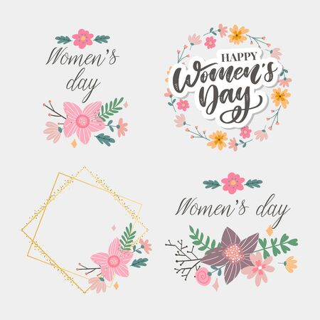 8 march. Happy Woman's Day Vector congratulation card with linear floral
