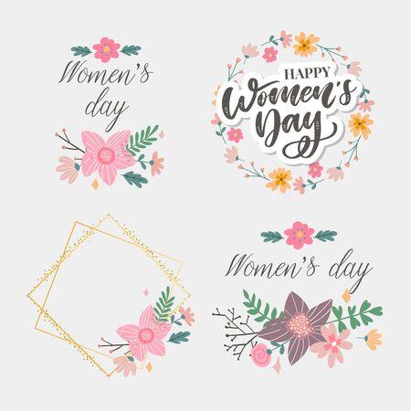 8 mars. Carte de félicitation de vecteur de la journée de la femme heureuse avec floral linéaire
