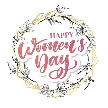 8 march. Happy Womans Day Vector congratulation card with linear floral