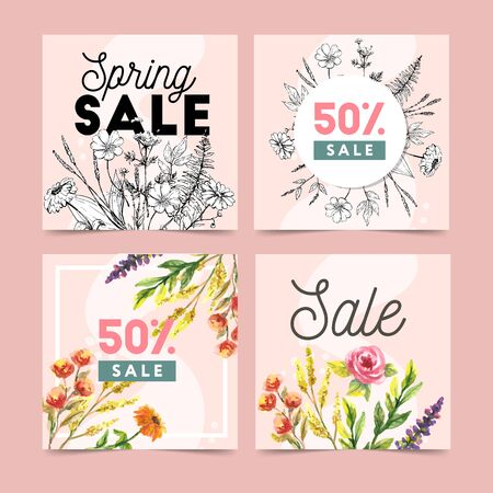 Set of spring flowers vector template for post, Stories, season sale, discounts, promotional, flyers and posters, apps, websites, printing material . Colorful and floral sale Иллюстрация