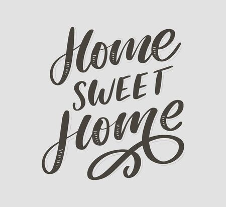 home sweet home hand lettering, quarantine pandemic letter text words calligraphy vector slogan