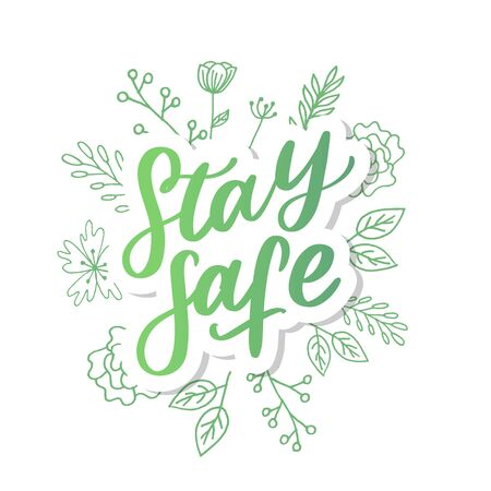 Slogan stay home safe quarantine pandemic letter text words calligraphy vector 向量圖像