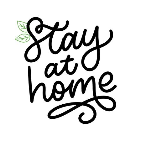 Slogan stay at home safe quarantine pandemic letter text words calligraphy vector 矢量图像