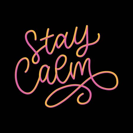 Slogan stay calm quarantine pandemic letter text words calligraphy vector
