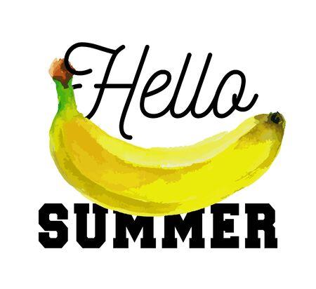 Hello summer slogan Watercolor banana fruit vector vegetarian food fresh Иллюстрация