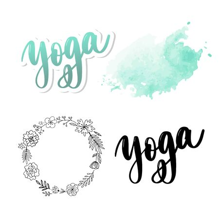 Yoga studio concept design. Elegant hand lettering for your design. Can be printed on greeting cards, paper and textile designs, etc