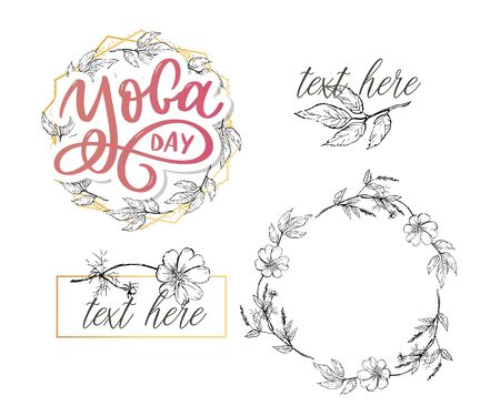 Lettering Yoga. Vector background International Yoga Day. Vector design for poster, T-shirts, bags. Yoga typography. Vector elements for labels 일러스트