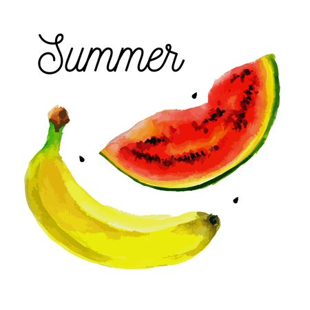 Vector fruit set - watermelon bananas Иллюстрация