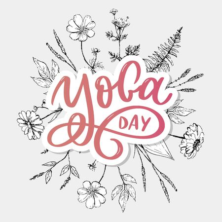 Lettering Yoga. background International Yoga Day. design for poster, T-shirts, bags. Yoga typography. elements for labels Vettoriali