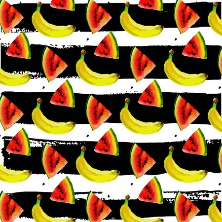 Watercolor seamless pattern with bananas. Hand drawn tropical design. summer fruit