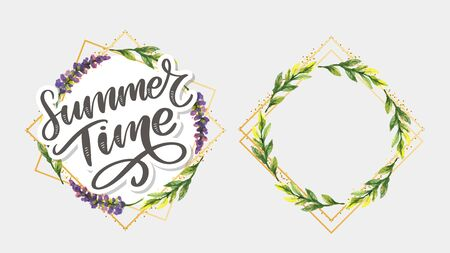Green summer time letter flowers in modern style on colorful background. Greeting invitation illustration. Floral bouquet decoration. Vettoriali