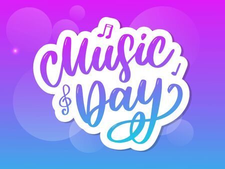 world music day lettering calligraphy brush