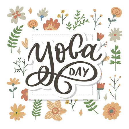 Lettering Yoga. background International Yoga Day. design for poster, T-shirts, bags. Yoga typography. elements for labels,  icons