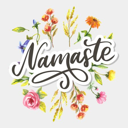 Namaste lettering Indian greeting, Hello in Hindi T shirt hand lettered calligraphic design. Inspirational vector