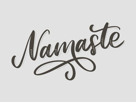 Hand drawn namaste card. Hello in hindi. Ink illustration. Hand drawn lettering background. Isolated on white background. Positive quote. Modern brush