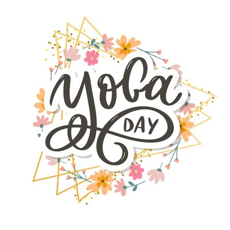 Lettering Yoga. Vector background International Yoga Day. Vector design for poster, T-shirts, bags. Yoga typography. Vector elements for labels, logos, icons