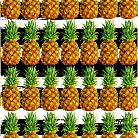 pineapple, watercolor palm pattern fruit Imagens