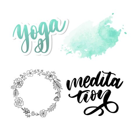 Vector illustration of My Therapy is meditation. Lettering poster for yoga studio and meditation class. Fun letters for greeting and invitation card, t-shirt print Иллюстрация