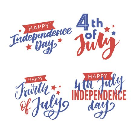 Happy Independence Day Greeting Card with Font. Vector Vector Illustration
