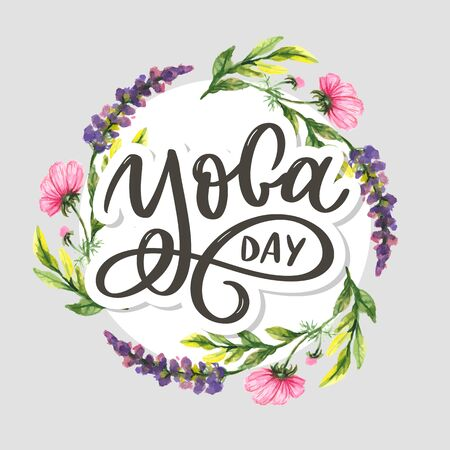 Lettering Yoga. Vector background International Yoga Day. Vector design for poster, T-shirts, bags. Yoga typography. Vector elements for labels, logos, icons Stockfoto - 148500755