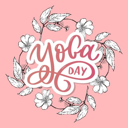 Lettering Yoga. Vector background International Yoga Day. Vector design for poster, T-shirts, bags. Yoga typography.