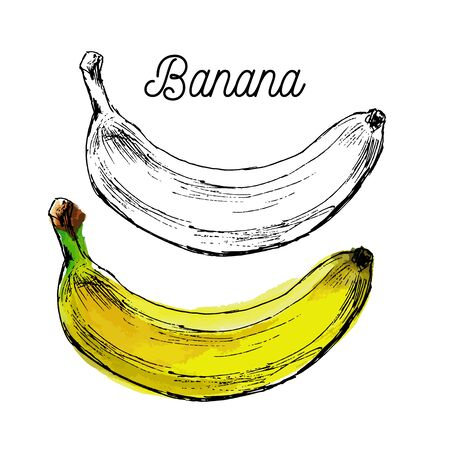 Black and White Cartoon Vector Illustration of Banana Fruit Food Object for Coloring