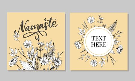 Hand drawn namaste card. Hello in hindi. Ink illustration. Hand drawn lettering background. Isolated on white background. Positive quote. Modern brush Banco de Imagens - 150059807
