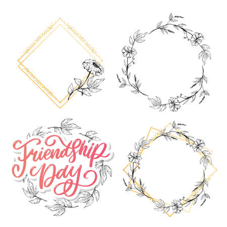 Beautiful Illustration Of Happy Friendship Day,Decorated Greeting Card Design.
