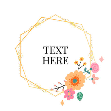 Floral Frame Collection. Set of cute retro flowers arranged un a shape of the wreath perfect for wedding invitations and birthday