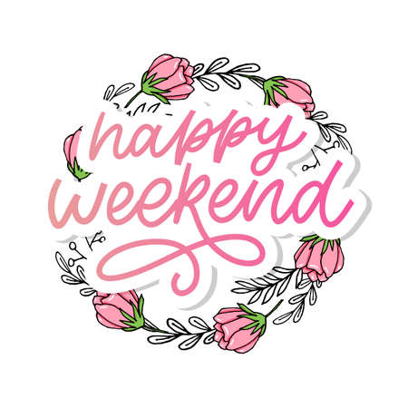 Happy weekend hand lettering vector. Perfect design element for greeting cards, posters and print invitations.