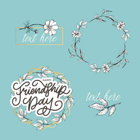 Vector illustration of hand drawn happy friendship day felicitation in fashion style with lettering text sign and color triangle for grunge effect isolated