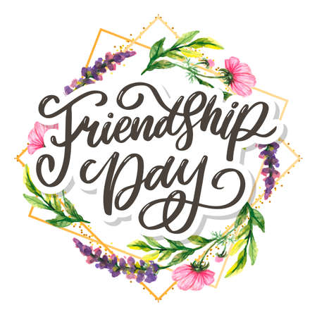 Beautiful Illustration Of Happy Friendship Day,Decorated Greeting Design