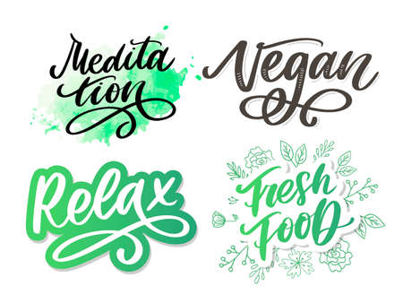 Vector illustration of My Therapy is meditation. Lettering poster for yoga studio and meditation class. Fun letters for greeting and invitation card, t-shirt print Vettoriali