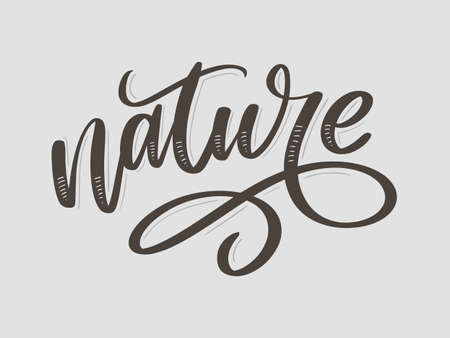 100 natural green lettering sticker with brushpen calligraphy. Eco friendly concept for stickers, banners, cards, advertisement. Vector ecology nature