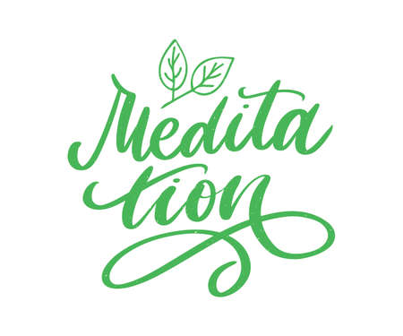 Vector illustration of My Therapy is meditation. Lettering poster for yoga studio and meditation class. Fun letters for greeting and invitation card, t-shirt print 矢量图像