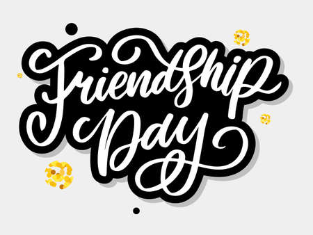 Vector illustration of hand drawn happy friendship day felicitation in fashion style with lettering text sign and color triangle for grunge effect isolated on white
