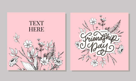 Vector illustration of hand drawn happy friendship day felicitation in fashion style with lettering text sign and color triangle for grunge effect isolated on white background