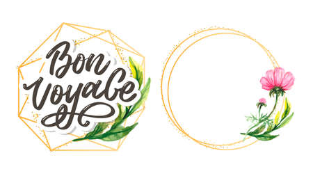 Bon Voyage Hand Lettering Vector Calligraphy Travel Vettoriali