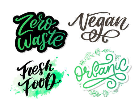 Vector illustration, food design. Hand lettering for restaurant, cafe menu, farm and shop. Elements for labels,  badges, stickers or icons. Calligraphic and typographic collection. Fresh food 矢量图像