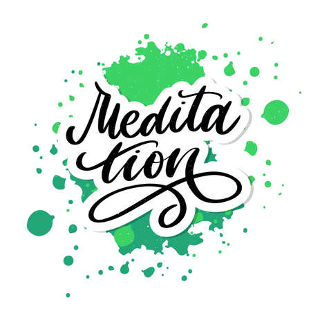 Vector illustration of My Therapy is meditation. Lettering poster for yoga studio and meditation class. Fun letters for greeting and invitation card, t-shirt print design.