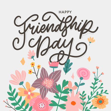 Friendship day vector illustration with text and elements for celebrating friendship day flowers