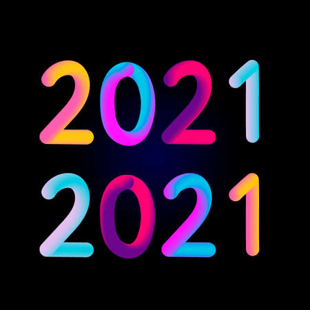 Vector illustration: Colorful 3d number of 2021 on white background. Happy New Year.