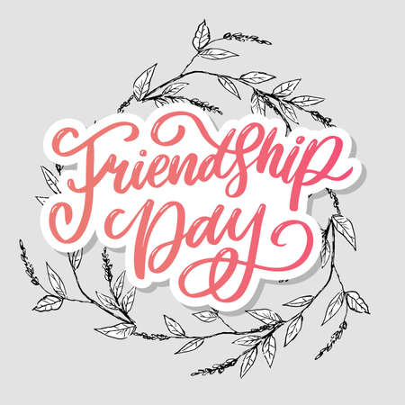 Beautiful Illustration Of Happy Friendship Day, Decorated Greeting Card Design.