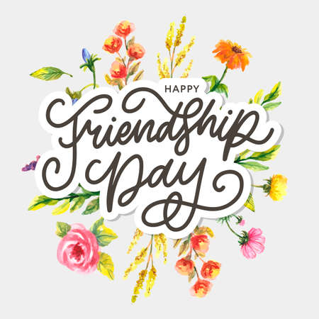 Friendship day vector illustration with text and elements for celebrating friendship day Çizim