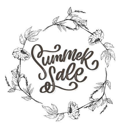 Trendy floral vector template. Summer flowers and Summer sale lettering illustration. Shabby gold texture on striped background. Çizim