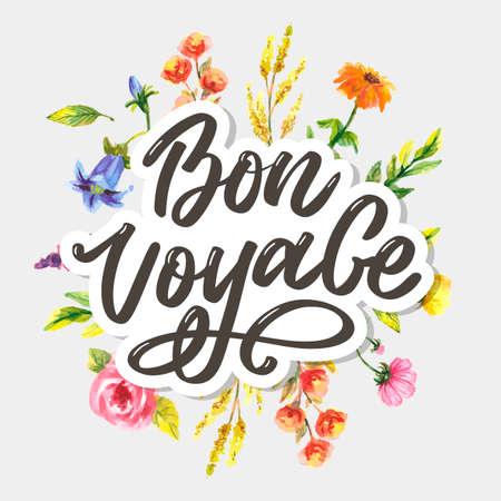 Bon Voyage Hand Lettering Vector Calligraphy Travel Çizim
