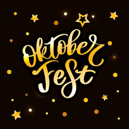 Oktoberfest handwritten lettering. Oktoberfest typography vector design for greeting cards and poster. Beer Festival vector banner. Design template celebration. Vector illustration. Çizim