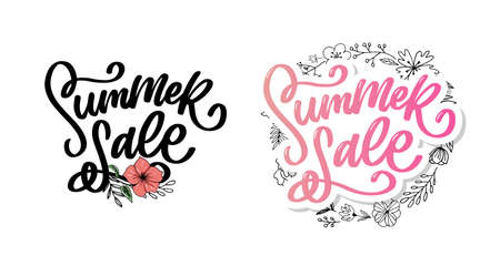Trendy floral vector template. Summer flowers and Summer sale lettering illustration.