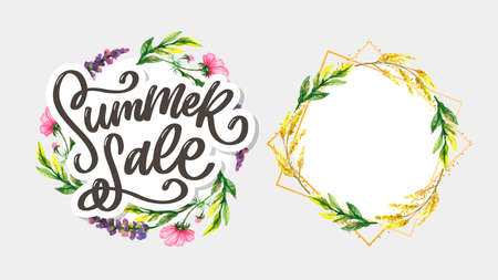 Trendy floral vector template. Summer flowers and Summer sale lettering illustration. Shabby gold texture on striped background.